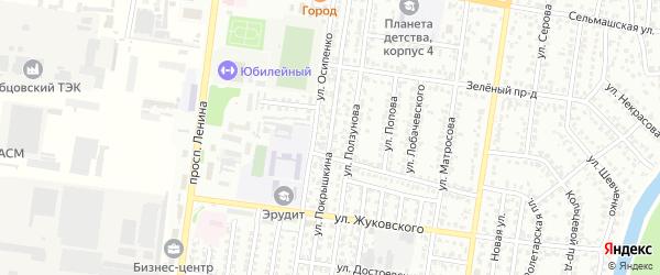 Улица Покрышкина на карте Рубцовска с номерами домов