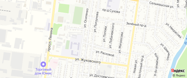 Улица Ползунова на карте Рубцовска с номерами домов