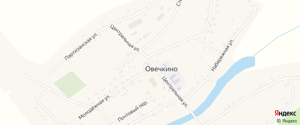 Центральная улица на карте села Овечкино с номерами домов