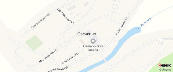 Школьный переулок на карте села Овечкино с номерами домов