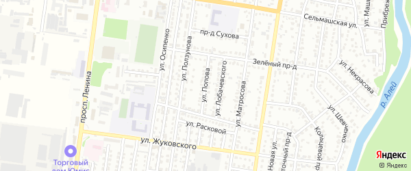 Улица Попова на карте Рубцовска с номерами домов