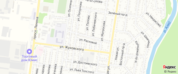 Улица Лермонтова на карте Рубцовска с номерами домов