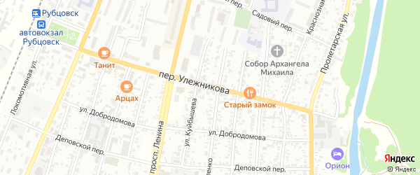 Переулок Улежникова на карте Рубцовска с номерами домов