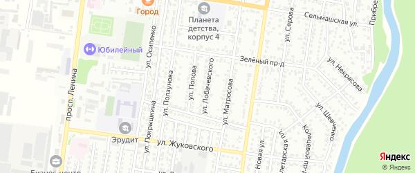 Улица Лобачевского на карте Рубцовска с номерами домов