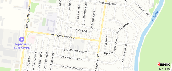 Яблочкиной проезд на карте Рубцовска с номерами домов