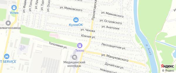 Южная улица на карте Рубцовска с номерами домов