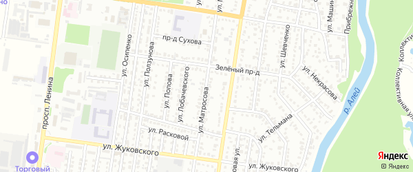 Улица Матросова на карте Рубцовска с номерами домов