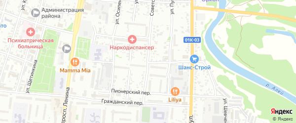 Делегатский переулок на карте Рубцовска с номерами домов