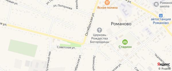Октябрьская улица на карте села Романово с номерами домов