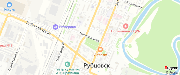 Московская улица на карте Рубцовска с номерами домов