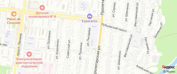 Улица Писарева на карте Рубцовска с номерами домов