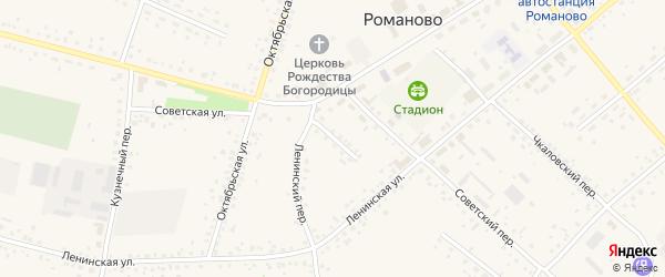 Профсоюзный переулок на карте села Романово с номерами домов