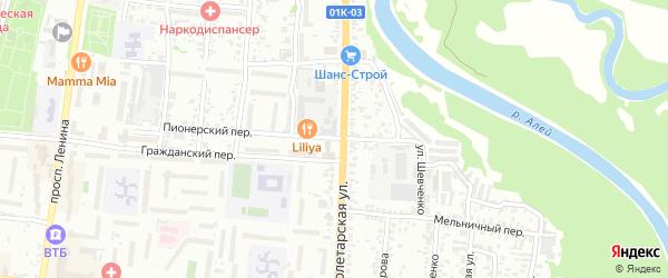 Пионерский переулок на карте Рубцовска с номерами домов