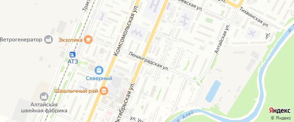 Ленинградская улица на карте Рубцовска с номерами домов