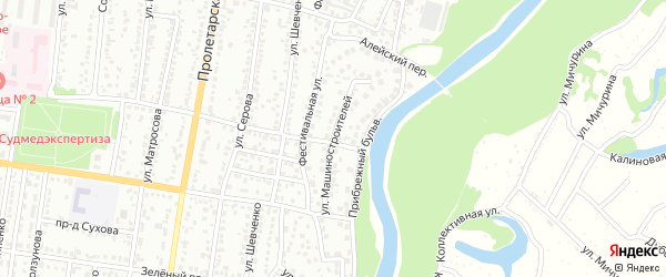 Улица Машиностроителей на карте Рубцовска с номерами домов