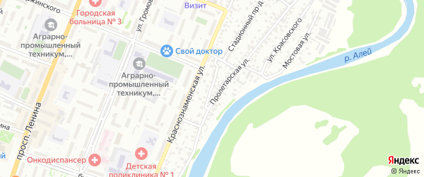 Поспелихинский проезд на карте Рубцовска с номерами домов