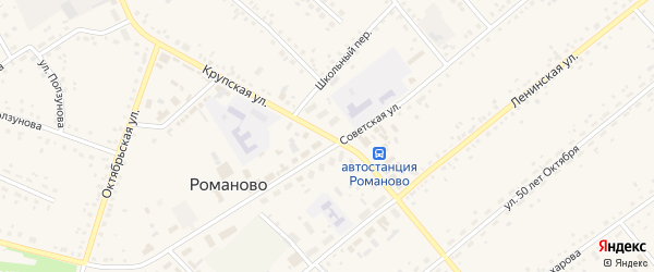 Крупская улица на карте села Романово с номерами домов