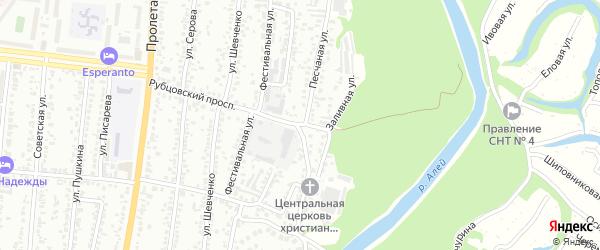 Песчаная улица на карте Рубцовска с номерами домов