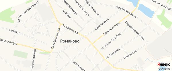 Карта села Романово в Алтайском крае с улицами и номерами домов