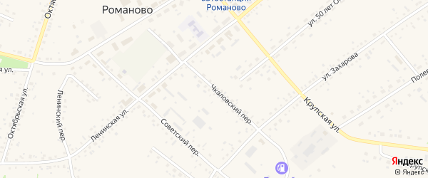 Чкаловский переулок на карте села Романово с номерами домов