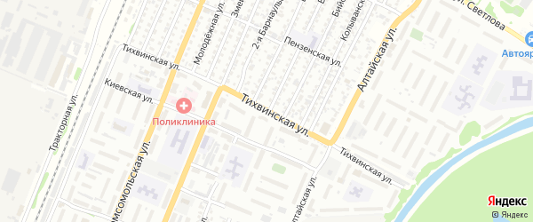 Тихвинская улица на карте Рубцовска с номерами домов
