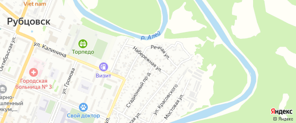 Набережная улица на карте Рубцовска с номерами домов
