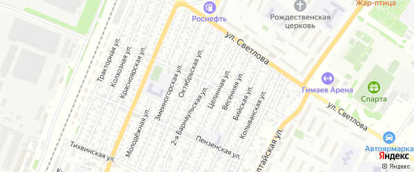 2-я Барнаульская улица на карте Рубцовска с номерами домов