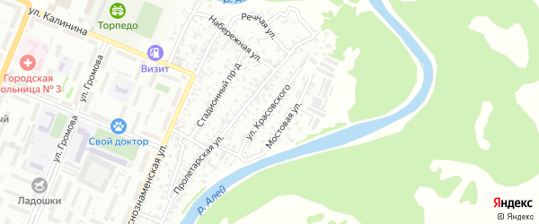 Улица Красовского на карте Рубцовска с номерами домов