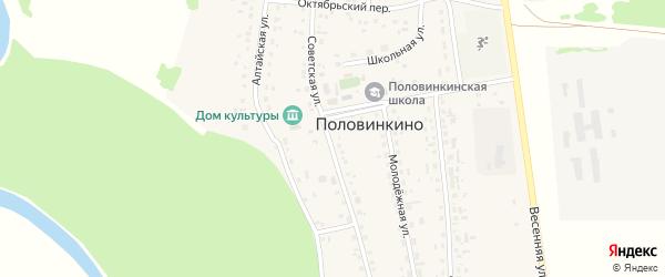 Советская улица на карте села Половинкино с номерами домов
