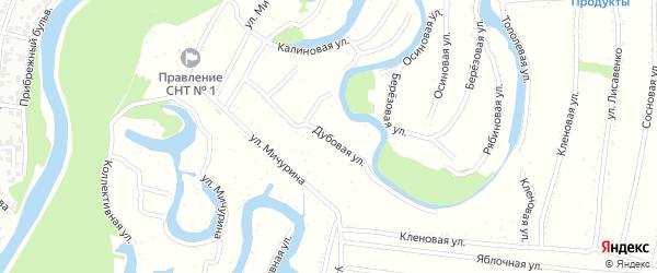 Дубовая улица на карте садового некоммерческого товарищества N 4 с номерами домов
