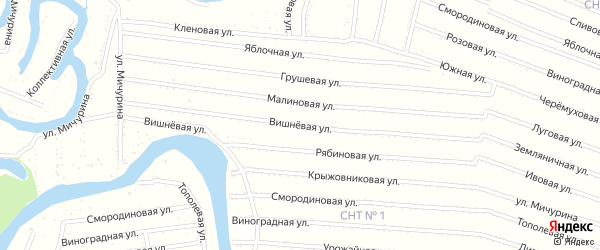 Вишневая улица на карте садового некоммерческого товарищества N 11 с номерами домов