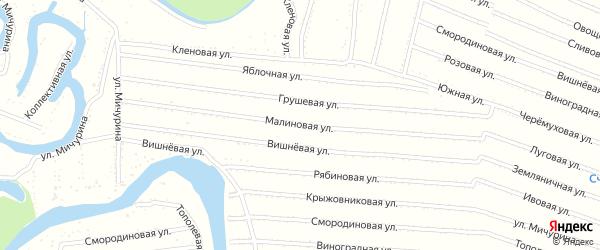 Малиновая улица на карте садового некоммерческого товарищества N 9 с номерами домов