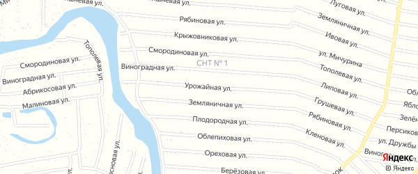 Урожайная 1-я улица на карте садового некоммерческого товарищества N 14 с номерами домов