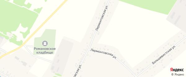 Лермонтовская улица на карте села Романово с номерами домов