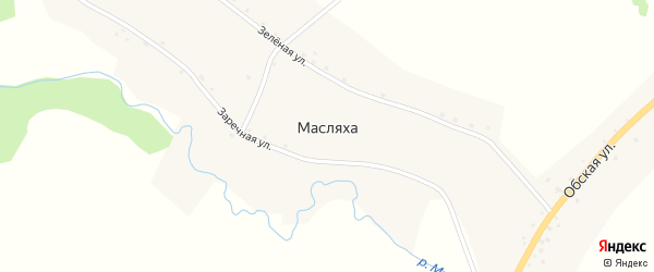 Зеленая улица на карте поселка Масляхи с номерами домов