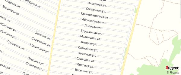 Малиновая улица на карте садового некоммерческого товарищества N 18 с номерами домов