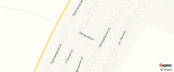 Западная улица на карте села Безрукавки с номерами домов