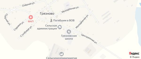 Центральная улица на карте села Грязново с номерами домов
