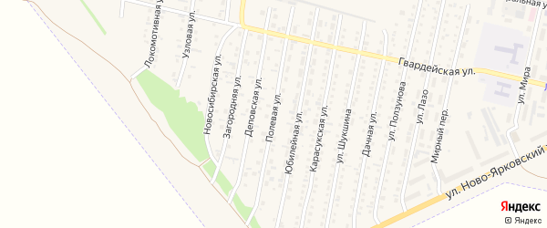 Полевая улица на карте Камня-на-Оби с номерами домов