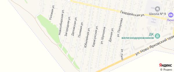 Юбилейная улица на карте Камня-на-Оби с номерами домов