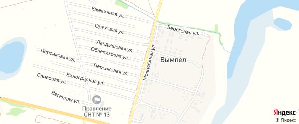 Молодежная улица на карте поселка Вымпела с номерами домов