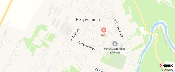 Комсомольская улица на карте села Безрукавки с номерами домов