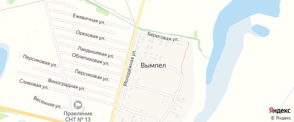 Майский переулок на карте поселка Вымпела с номерами домов