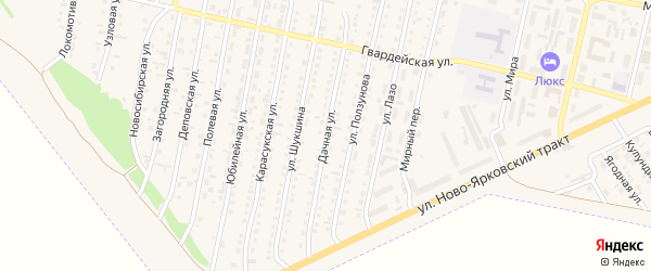 Дачная улица на карте Камня-на-Оби с номерами домов