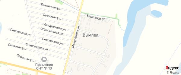 Рабочая улица на карте поселка Вымпела с номерами домов