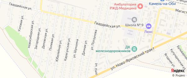 Улица Ползунова на карте Камня-на-Оби с номерами домов