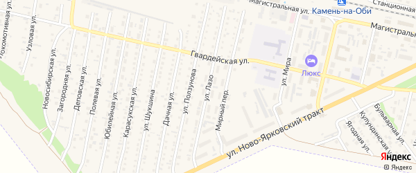 Улица Лазо на карте Камня-на-Оби с номерами домов