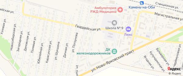 Мирный переулок на карте Камня-на-Оби с номерами домов