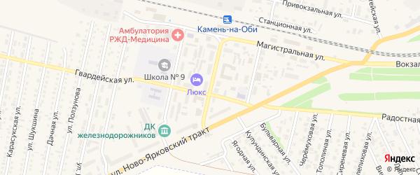 Молодежная улица на карте Камня-на-Оби с номерами домов