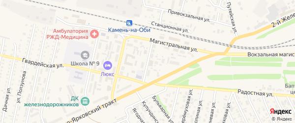 Строительная улица на карте Камня-на-Оби с номерами домов
